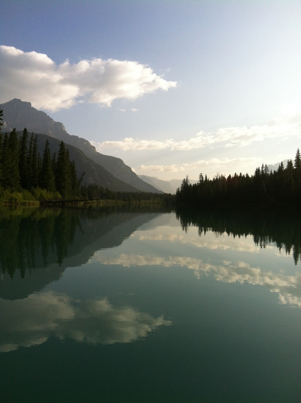 Canoeing in the Bow River, Alberta