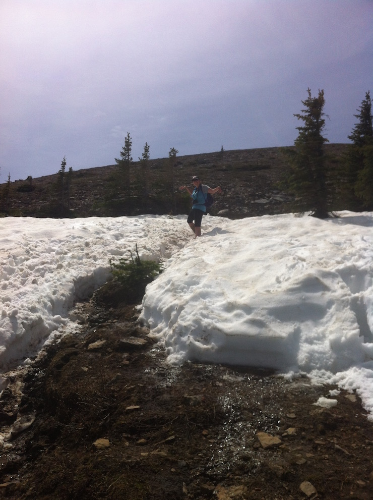 snow while hiking Sulphur Skyline Trail in Spring