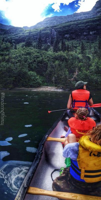 Canoeing Cameron Lake that feeds down to Cameron Falls in the Waterton town site.