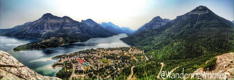 Looking south towards Upper Waterton Lake. Way off at the end of the lake is the border with the United States.
