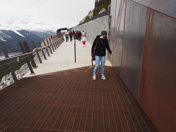 Crawling across the Glacier skywalk, scared of heights