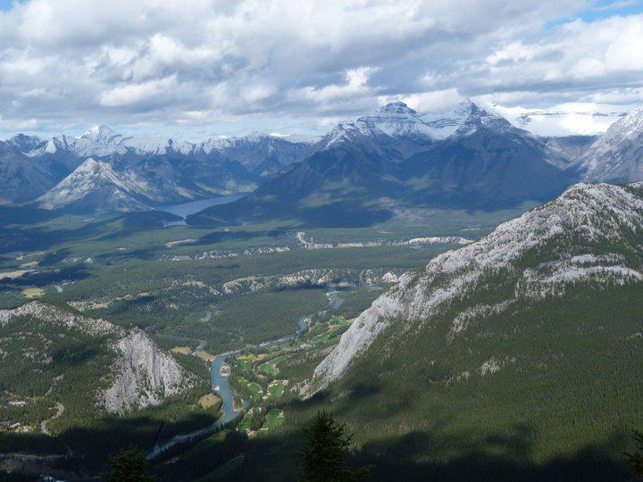 Impressive Panorama view from the top of the Sulphur Mountain, Banff
