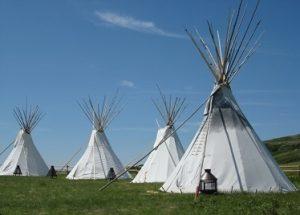 Head smashed in Buffalo Jump - Blackfoot Teepee